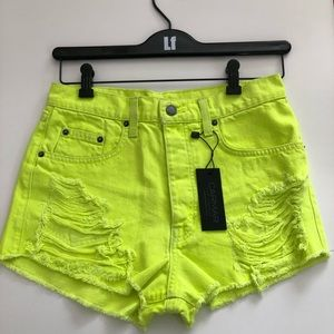LF distressed vintage yellow denim shorts